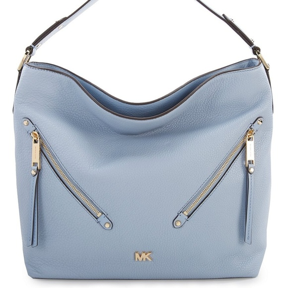 dc4faf3e2996 NWT MICHAEL KORS MK Evie Large Hobo Bag PALE BLUE